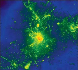 Multiple spots in a simulated galaxy glow brightly at submillimeter wavelengths of light